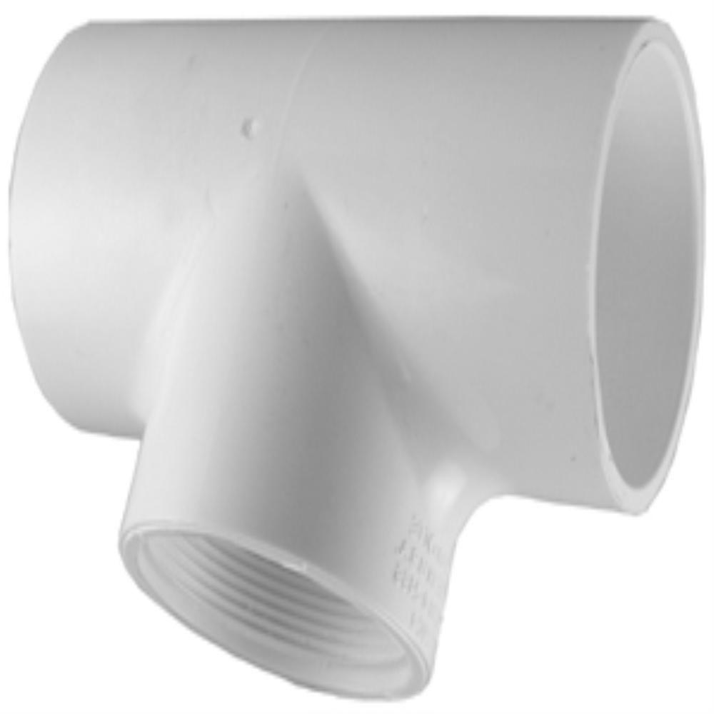Charlotte Pipe 3/4 in. x 3/4 in. x 1/2 in. PVC Sch. 40 S x S x Female Pipe Thread Reducing Tee