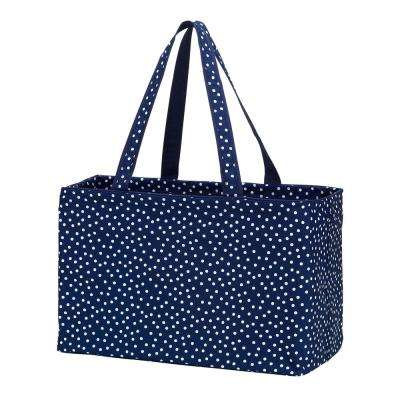 Navy Scattered Dot Polyester Ultimate Tote
