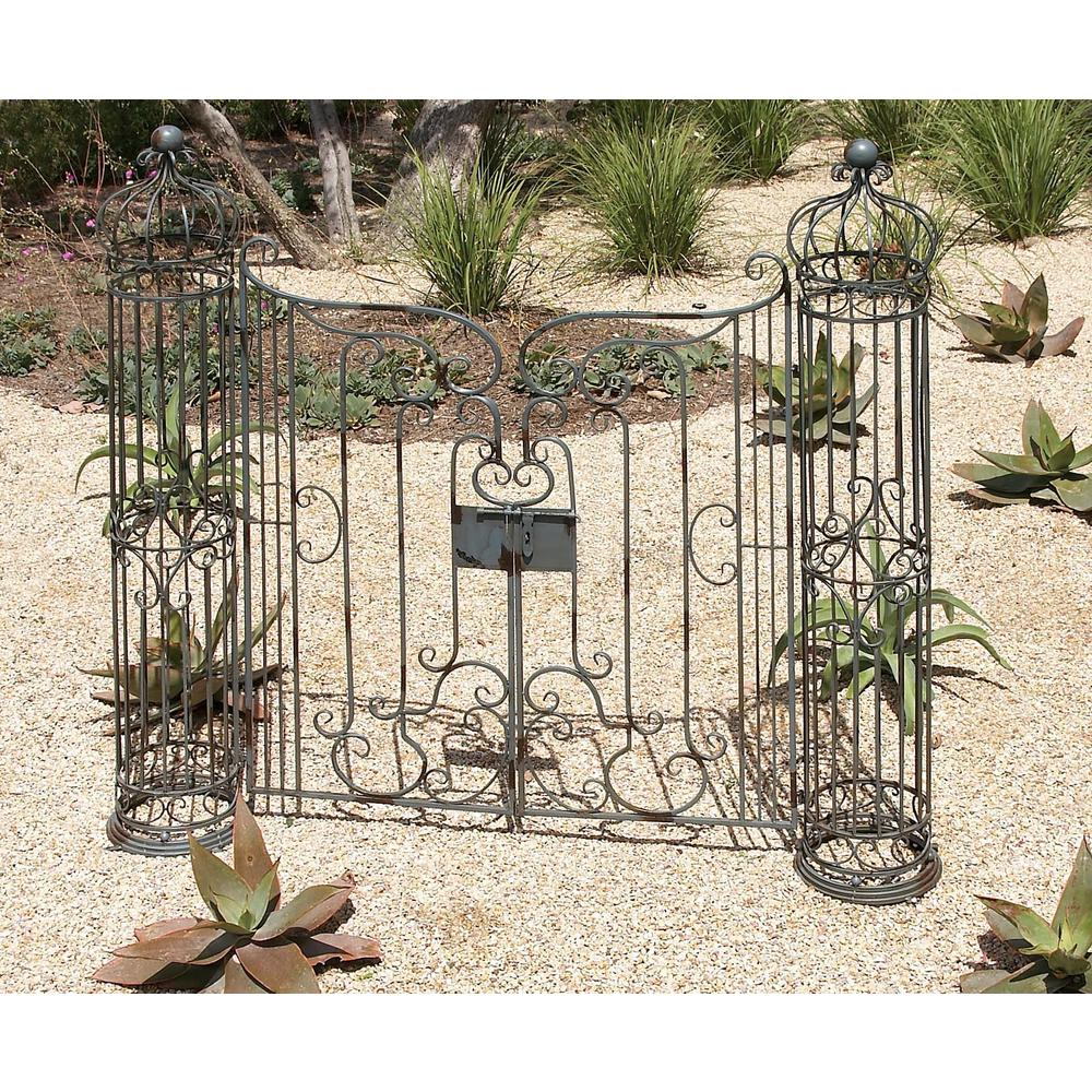 Wrought Iron Garden Gate Decor With Swinging Doors