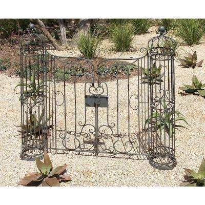62 in. x 67 in. Wrought Iron Garden Gate Decor with Swinging Doors