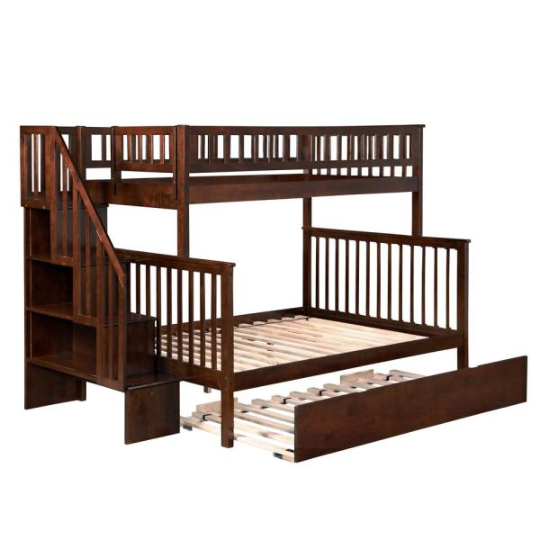 Atlantic Furniture Woodland Walnut Twin Over Full Staircase Bunk Bed with Twin Size Urban Trundle Bed
