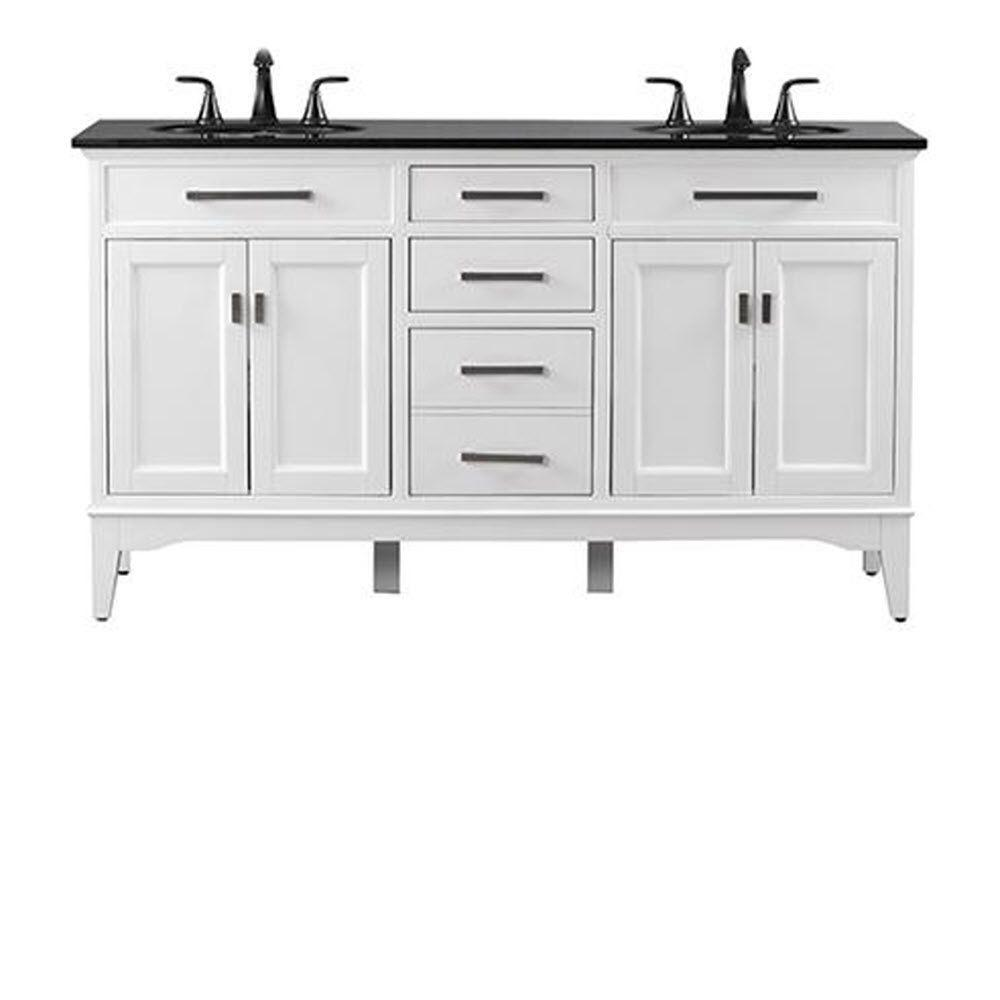 Home Decorators Collection Manor Grove 61 In. W Double Bath Vanity In White  With Granite Vanity Top In Black 13213 VS61A WT   The Home Depot