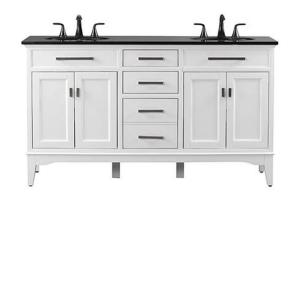 Home Decorators Collection Manor Grove 61 inch W Double Bath Vanity in White with Granite... by Home Decorators Collection