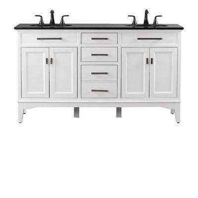 Manor Grove 61 in. W Double Bath Vanity in White with Granite Vanity Top in Black