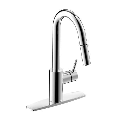 Polished Chrome Euro Collection Single-Handle Kitchen Faucet With Pull-Down Spray