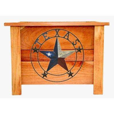 Hollis 22 in. Cedar Planter Box with Vintage Texas Star Art