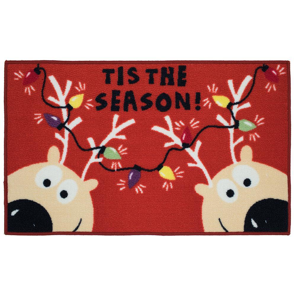 Reindeer Tis the Season 18 in. x 30 in. Printed Holiday Mat
