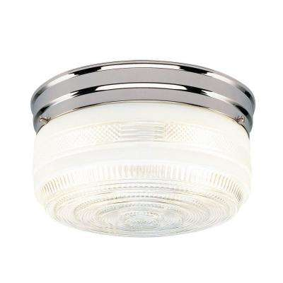 2-Light Ceiling Fixture Chrome Interior Flush-Mount with White and Clear Glass