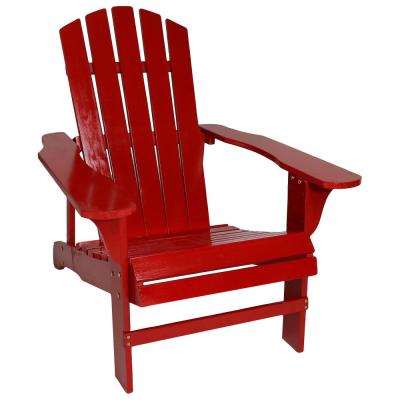 Coastal Bliss Red Wooden Adirondack Chair