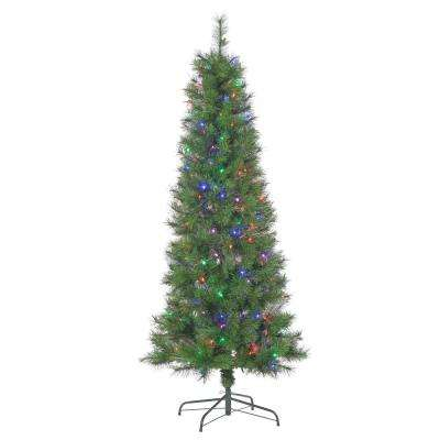 6.5 ft. Pre-Lit Hard Mixed Needle Fiber Optic Artificial Christmas Tree