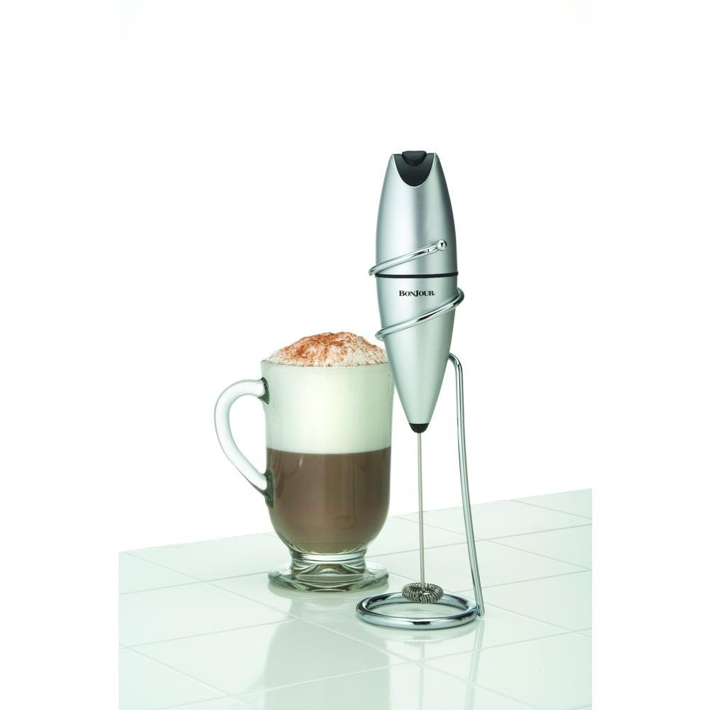 Bonjour Battery Powered Milk Frother, Stainless Look