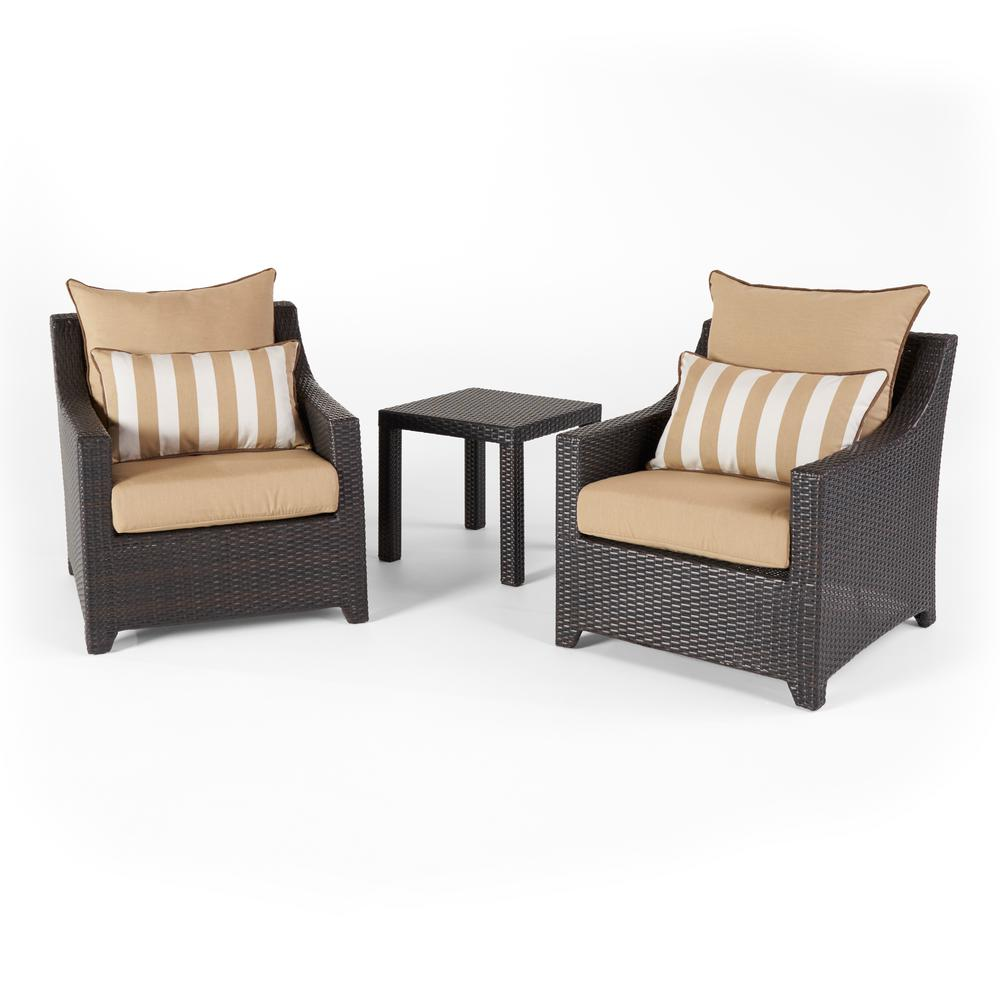 RST Brands Deco 3-Piece Aluminum All-Weather Wicker Patio Club Chairs and Side Table Seating Set with Maxim Beige Cushions