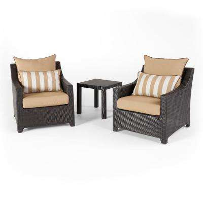 Deco 3-Piece Aluminum All-Weather Wicker Patio Club Chairs and Side Table Seating Set with Maxim Beige Cushions