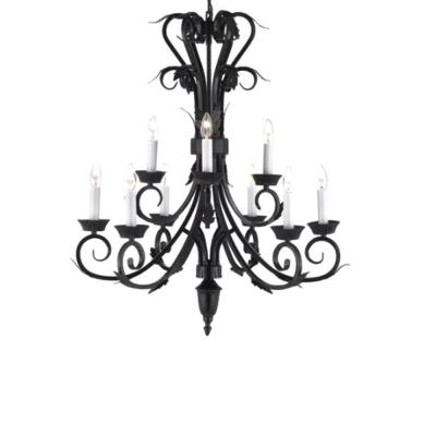 Versailles 9-Light Black Candle-Style Chandelier