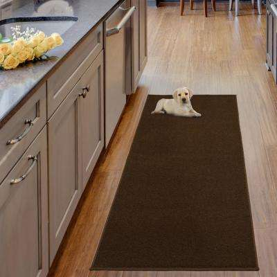 Luxury Collection Shag Solid Design Brown 2 ft. x 6 ft. Runner Rug
