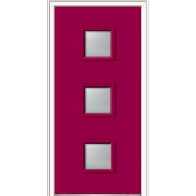 30 in. x 80 in. Aveline Right-Hand Inswing 3-Lite Frosted Painted Fiberglass Smooth Prehung Front Door 4-9/16 in. Frame