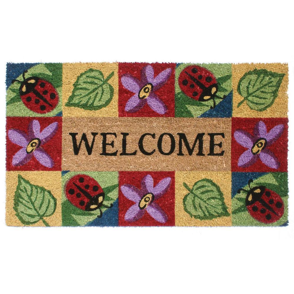 Ladybug Welcome 18 in. x 30 in. SuperScraper Vinyl/Coir Door Mat