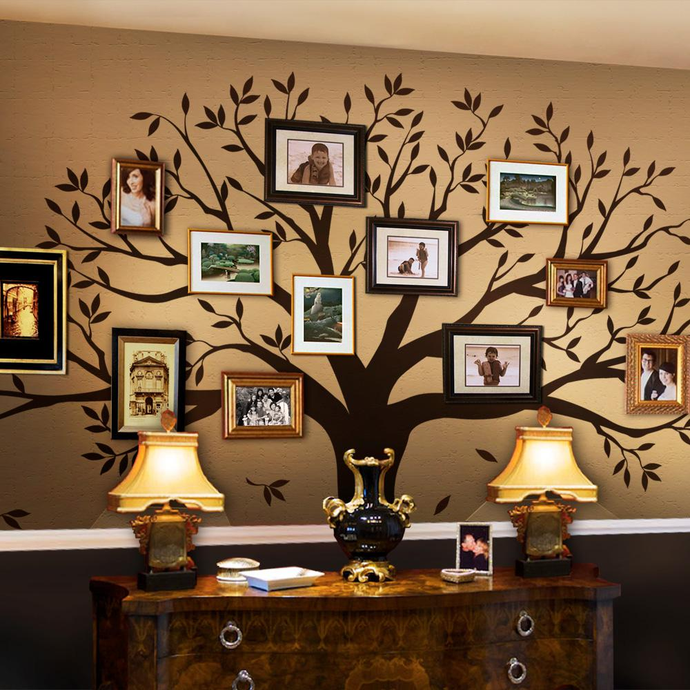 Simple Shapes Family Tree Wall Decal For Picture Frames In Chestnut Brown Standard