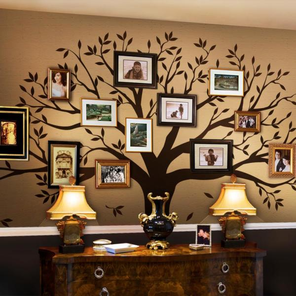 simple shapes family tree wall decal tree wall decal for picture frames in chestnut brown