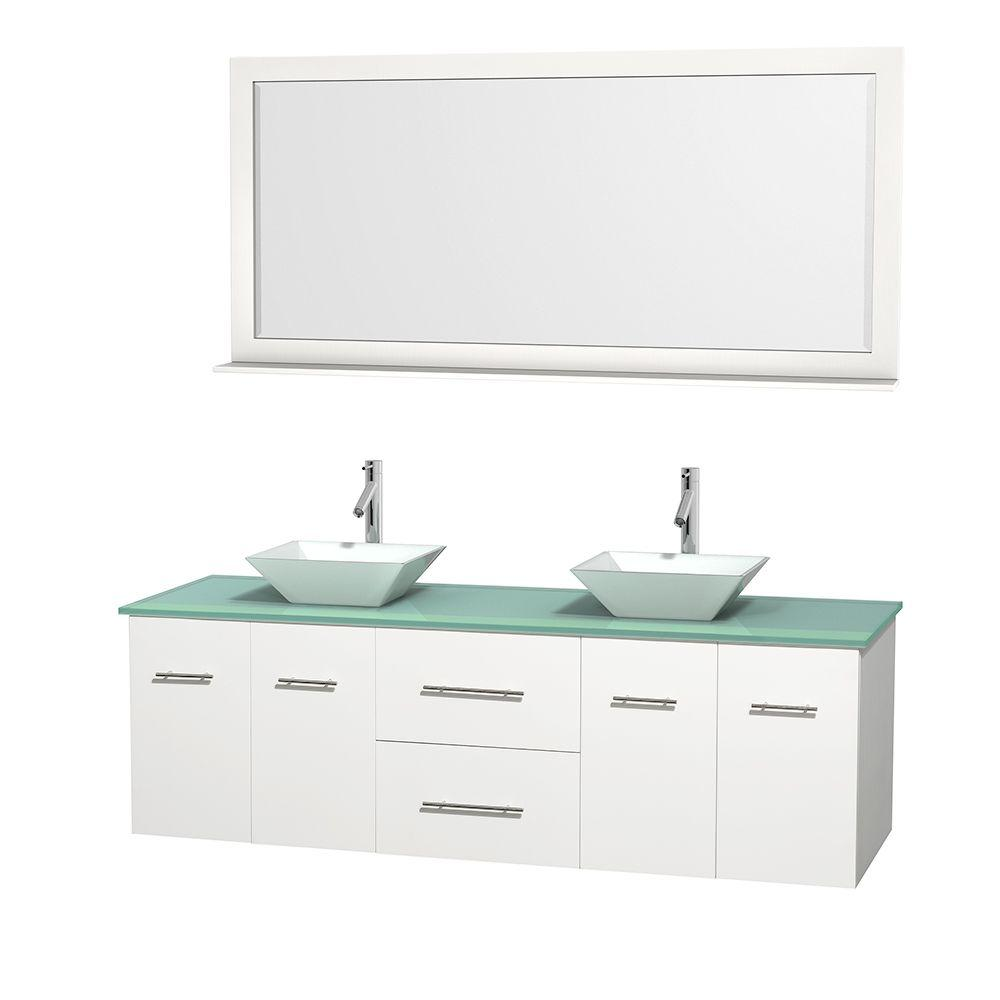 Wyndham Collection Centra 72 in. Double Vanity in White with Glass Vanity Top in Green, Porcelain Sinks and 70 in. Mirror