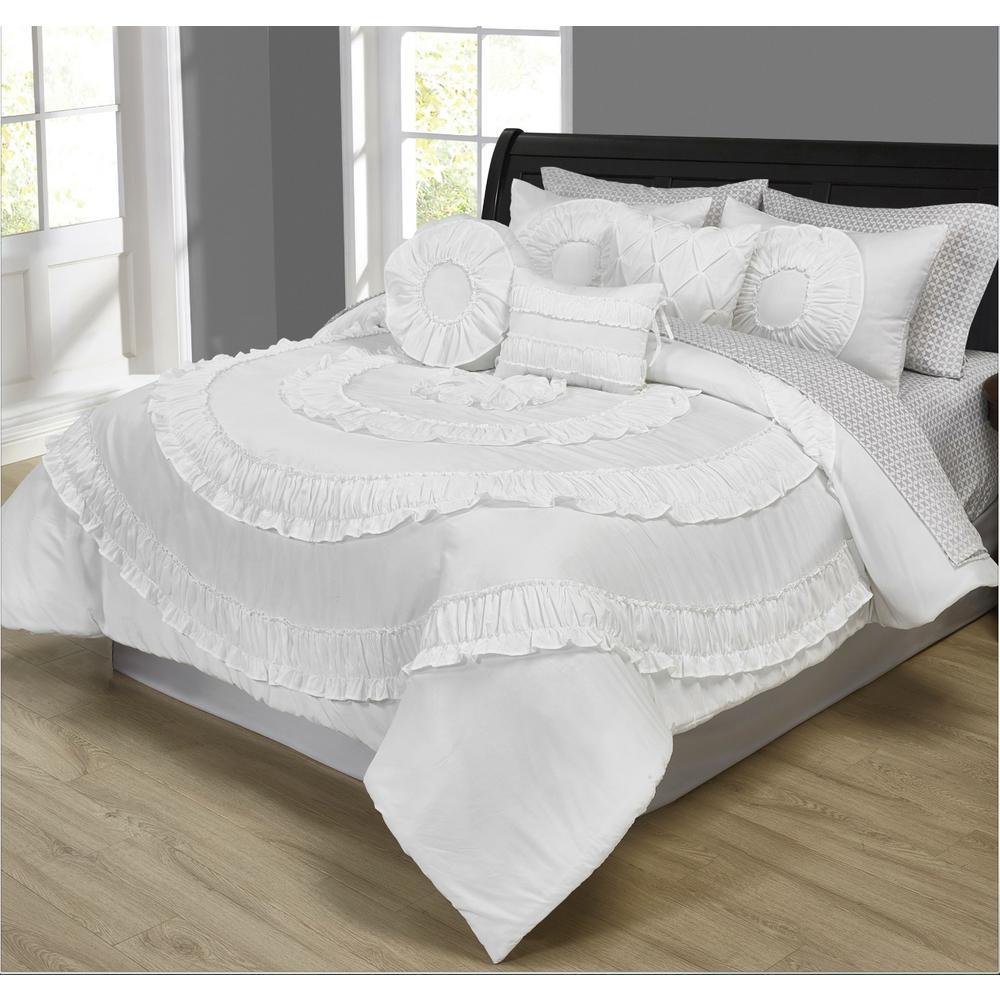 Jennifer Ruffled White 10-Piece Comforter Set