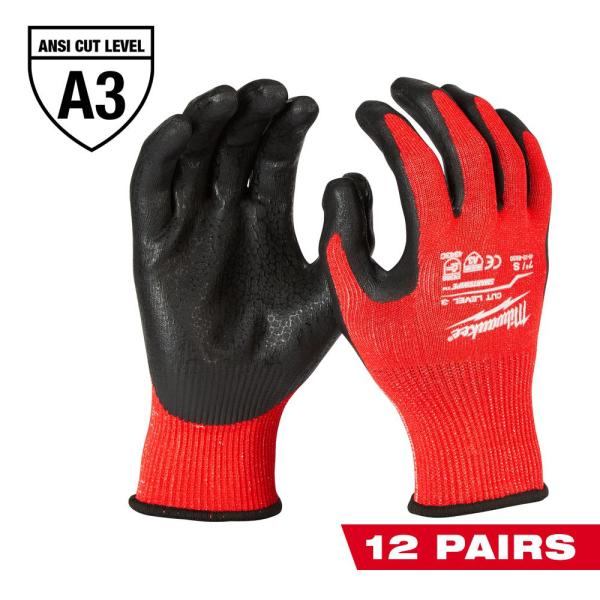 Small Red Nitrile Level 3 Cut Resistant Dipped Work Gloves (12-Pack)
