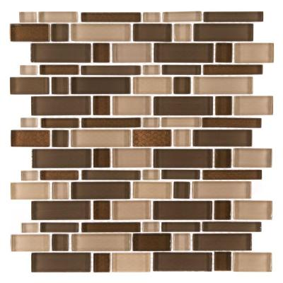 Heritage Cold Pencil Brown 11 in. x 11.75 in. Interlocking Gloss Glass Mosaic Tile (0.897 sq. ft./Each)
