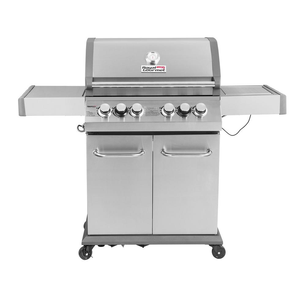 Luxury 4-Burner in Stainless Steel Propane Gas Grill with Side Sear