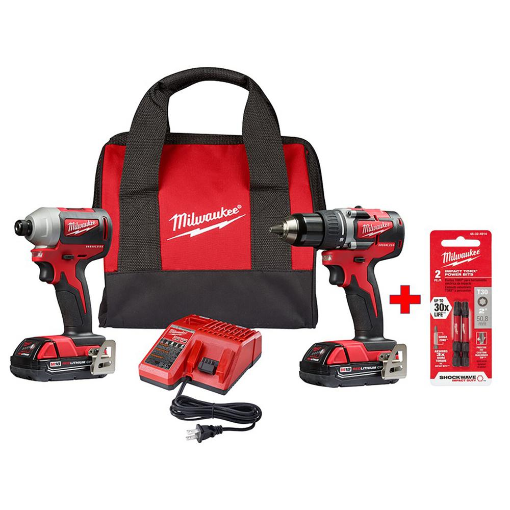 Milwaukee M18 18-Volt Lithium-Ion Brushless Cordless Compact Drill/Impact Combo Kit (2-Tool) W/ (2) 2.0 Ah Batteries and Bits