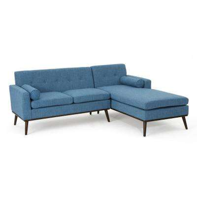 2-Piece Muted Blue Fabric Chaise Sectional