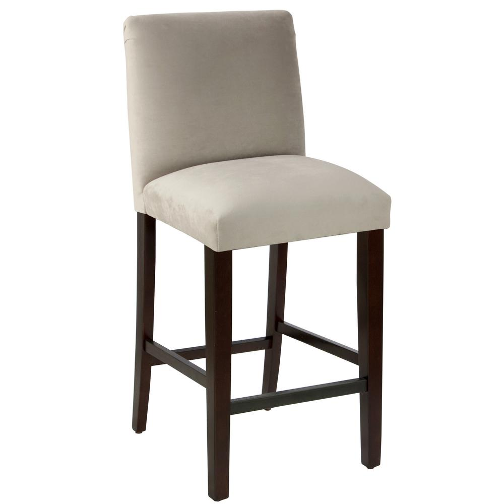 Velvet Light Grey Bar Stool With Diamond Tufted Back