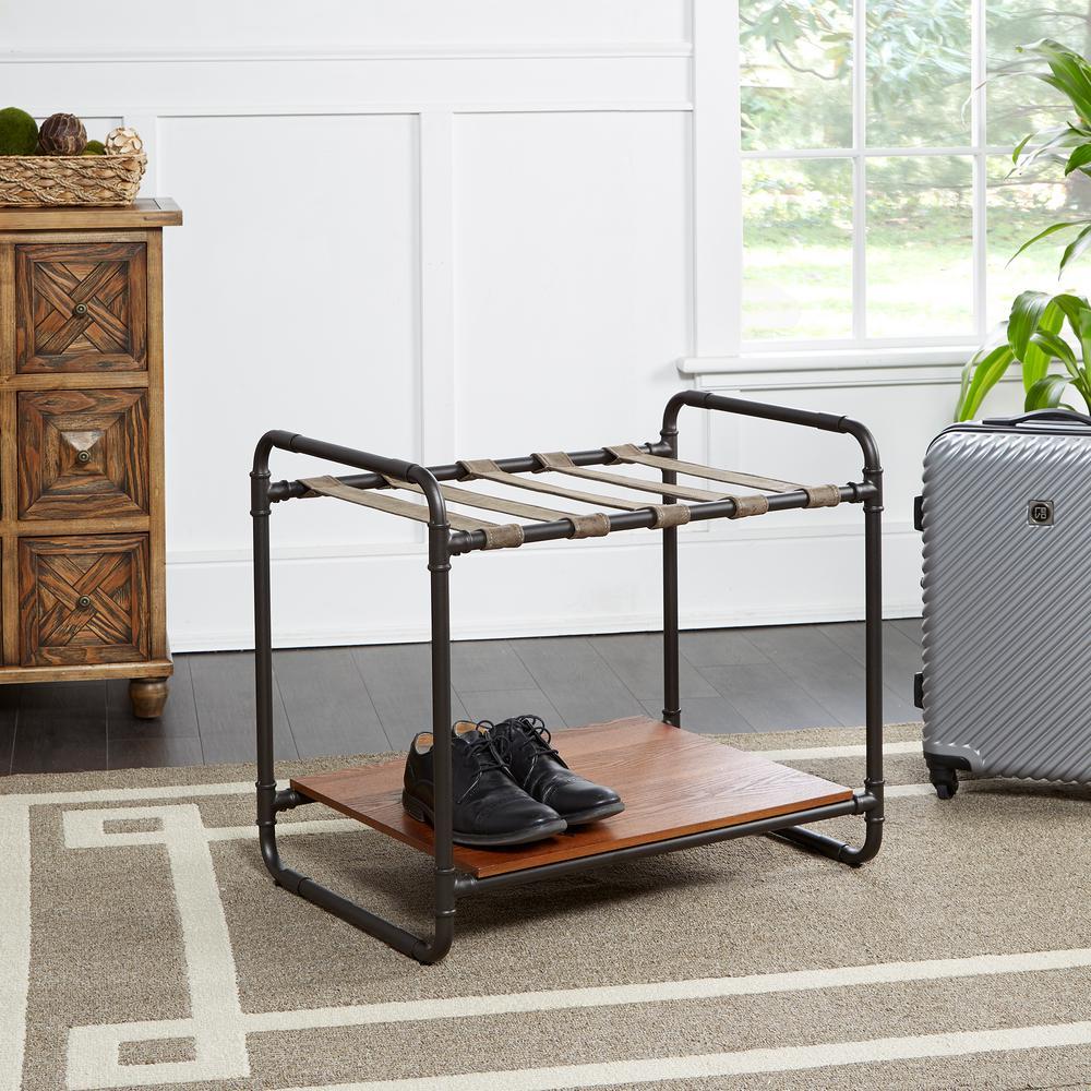 Anderson Black and Brown Luggage Rack Coat Rack