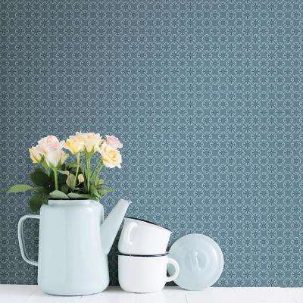 Crosby Blue Floral Wallpaper