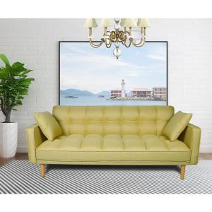 Harper Bright Designs Yellow Linen Fabric Tufted Sleeper