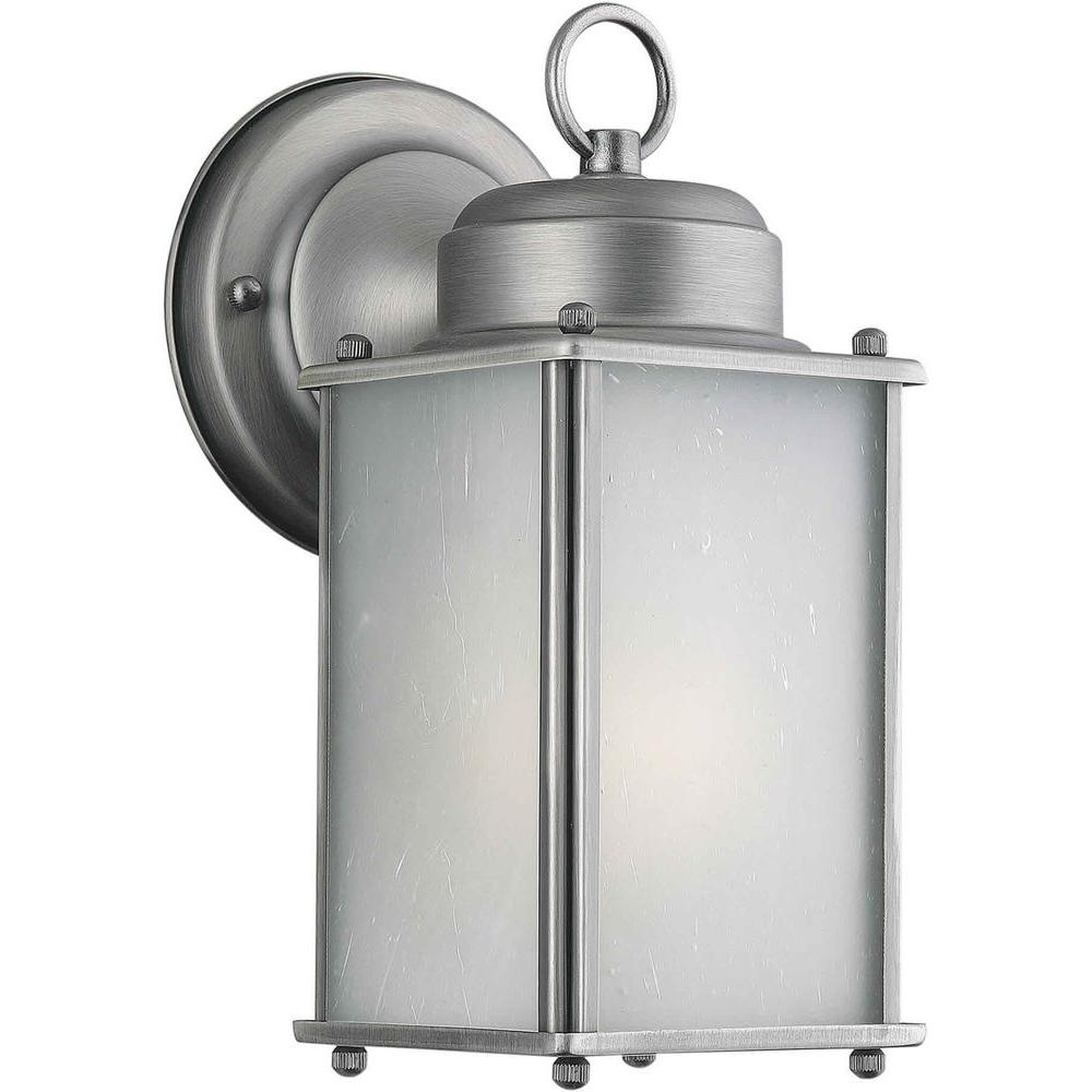 Talista 1-Light Olde Nickel Outdoor Wall Lantern with Frosted Seeded Glass