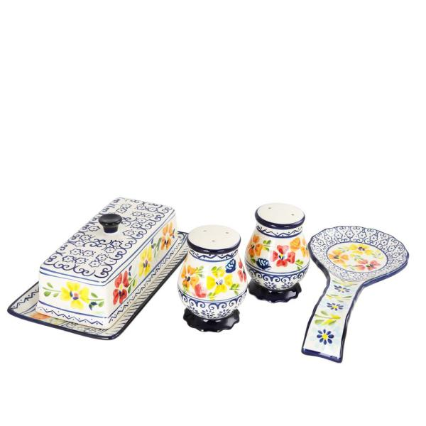 GIBSON elite Luxembourg 4-Piece Hand Painted Stoneware Serving Set 985105486M