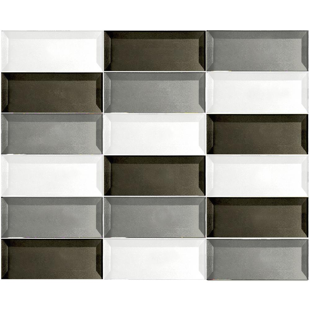 ABOLOS Forever Warm Gray Beveled Linear Mosaic 2 in. x 4 in. Glass Mesh Mounted Wall Tile (1 Sq. ft.)
