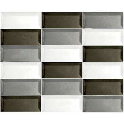 Secret Dimensions Warm Gray, White, Bronze Mix 12 in. x 12 in. x 6 mm Glossy Glass Mosaic Tile