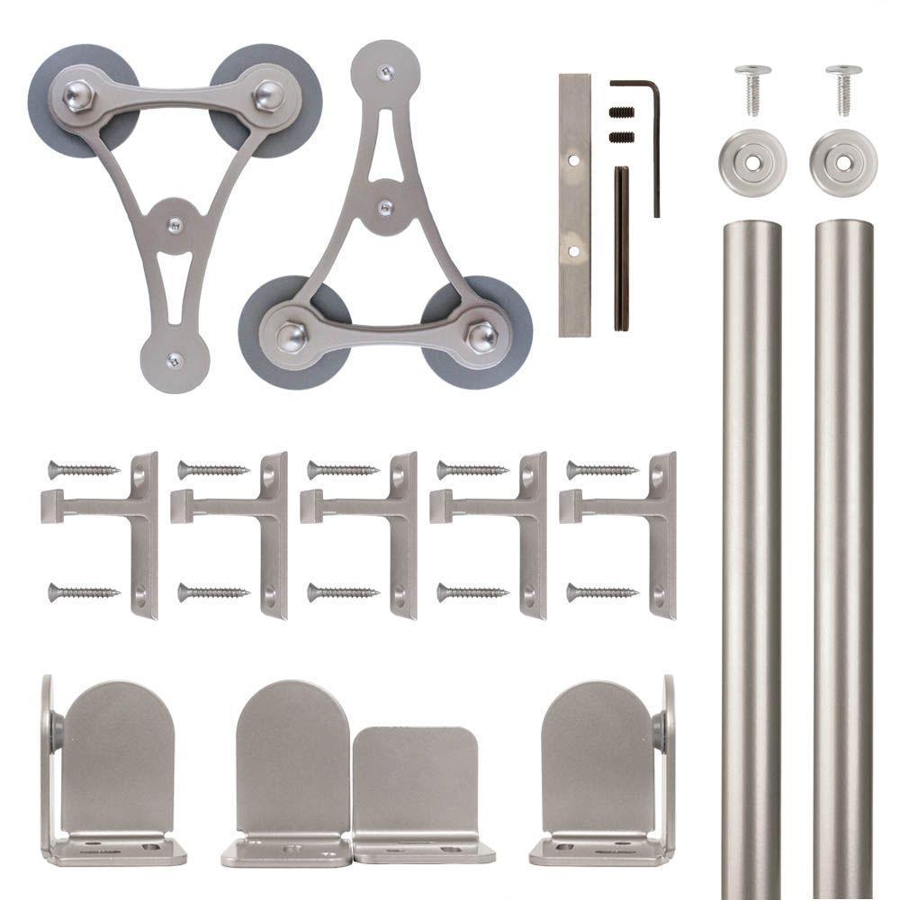 V-8 Satin Nickel Rolling Door Hardware Kit for 1-1/2 in. to 2-1/4 in. Door