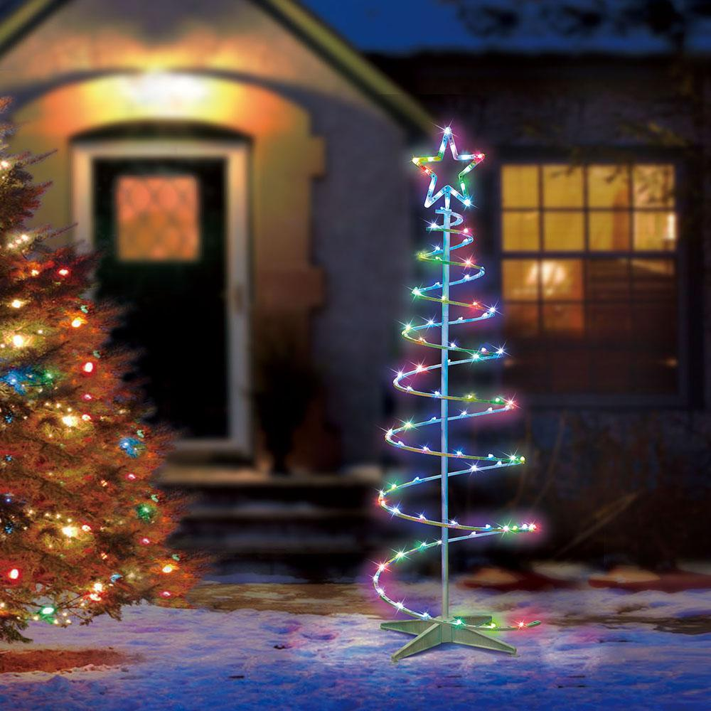 Color Blast Remote Controlled Rgb Led 96 Light Spiral Tree