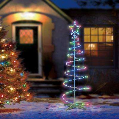 Color Blast Remote Controlled RGB LED 96-Light Spiral Tree - 5 - Color Changing Lights - Outdoor Christmas Decorations - Christmas
