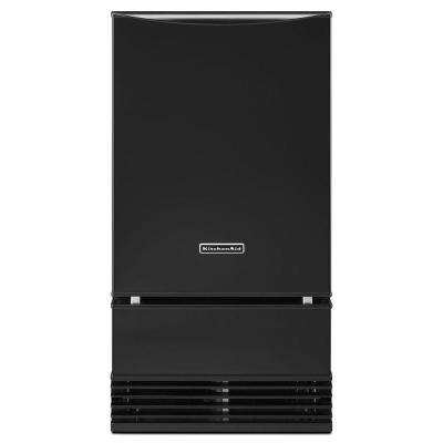 18 in. 50 lb. Freestanding or Built-In Icemaker with Drain Pump in Black