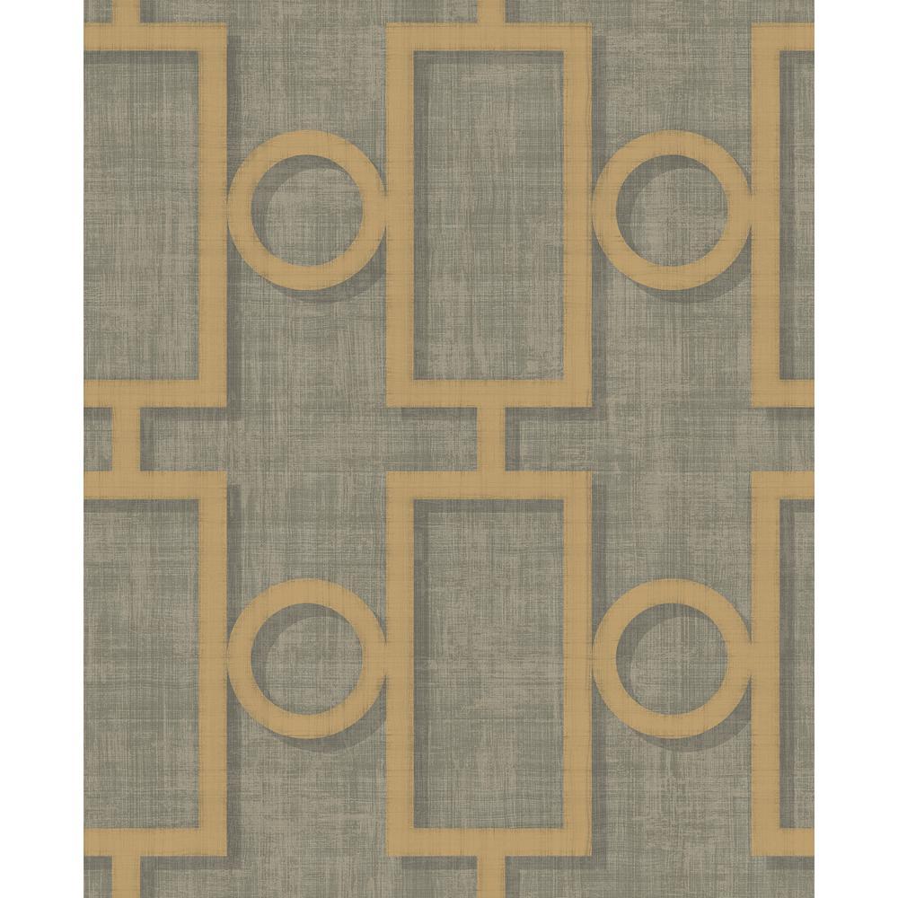 Adorn Metallic Gold and Charcoal Geometric Wallpaper