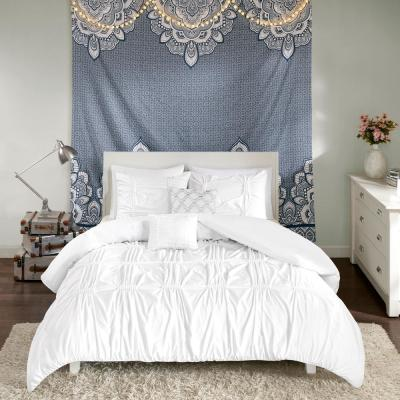 Quinn 5-Piece White Full/Queen Comforter Set