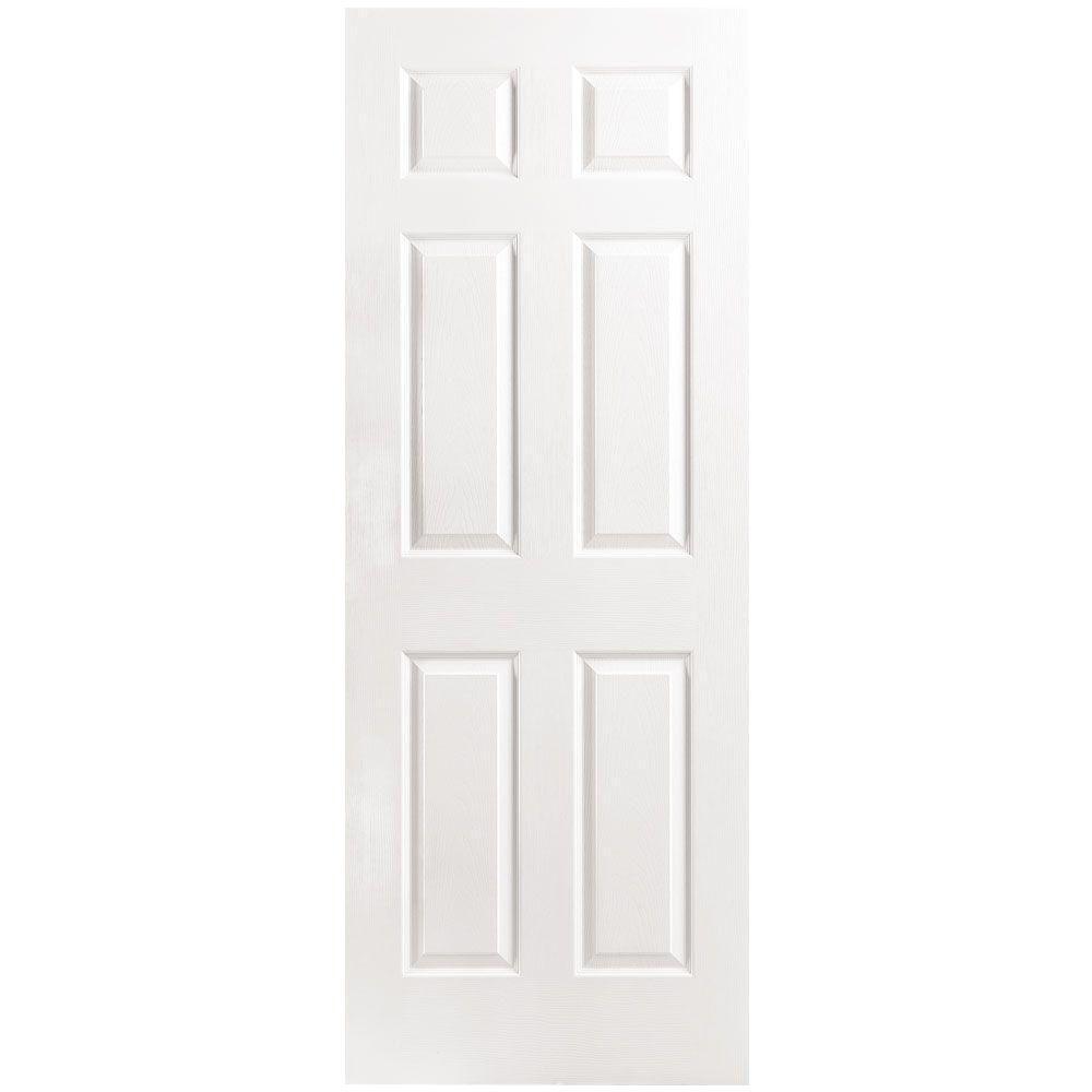 Masonite 24 in. x 80 in. 6-Panel Right-Handed Hollow-Core Textured Primed Composite Single Prehung Interior Door