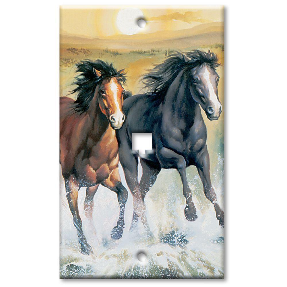 Art Plates Horses Phone Jack Wall Plate
