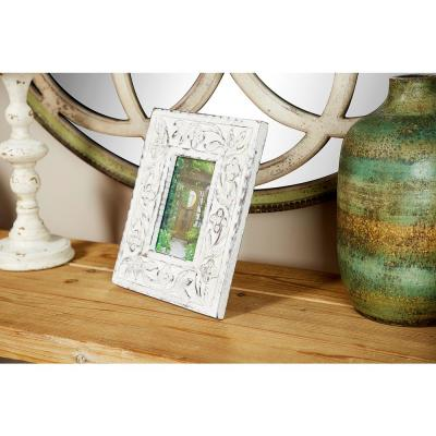 Litton Lane 4 in. x 6 in. Rectangular Carved Wood Antique Floral Picture Frame with Whitewash Finish
