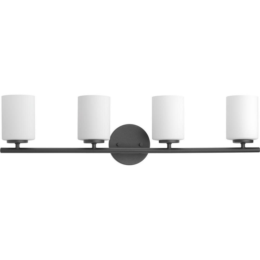Progress Lighting Replay 31.13 in. 4-Light Black Bathroom Vanity Light with Glass Shades