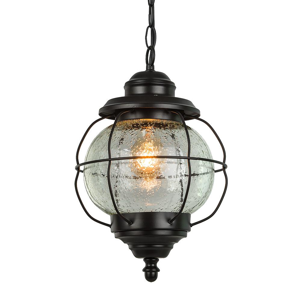 LNC Globe Black 1-Light Outdoor Hanging Lantern with Seeded Glass Shade