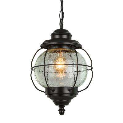 Globe Black 1-Light Outdoor Hanging Lantern with Seeded Glass Shade